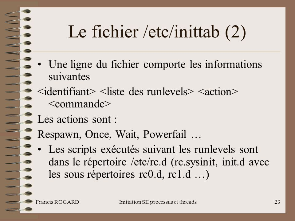 Le fichier /etc/inittab (2)