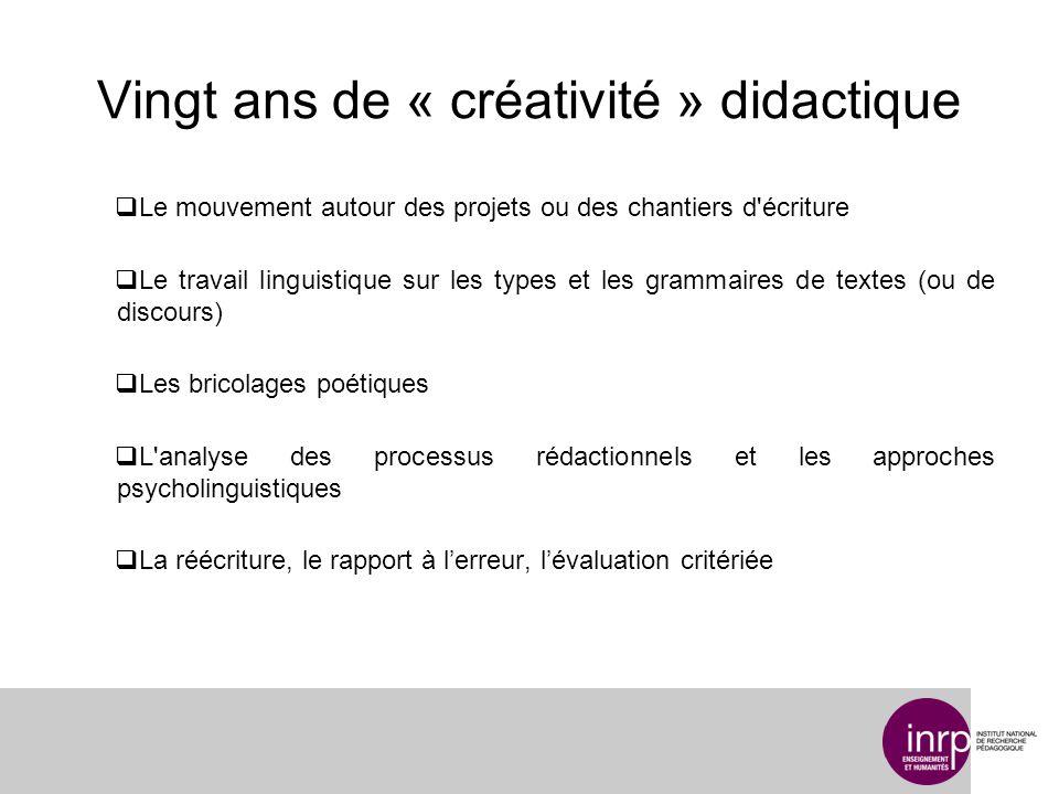 Vingt ans de « créativité » didactique