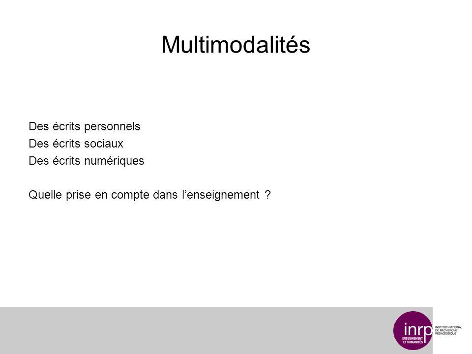 Multimodalités Des écrits personnels Des écrits sociaux Des écrits numériques Quelle prise en compte dans l'enseignement .