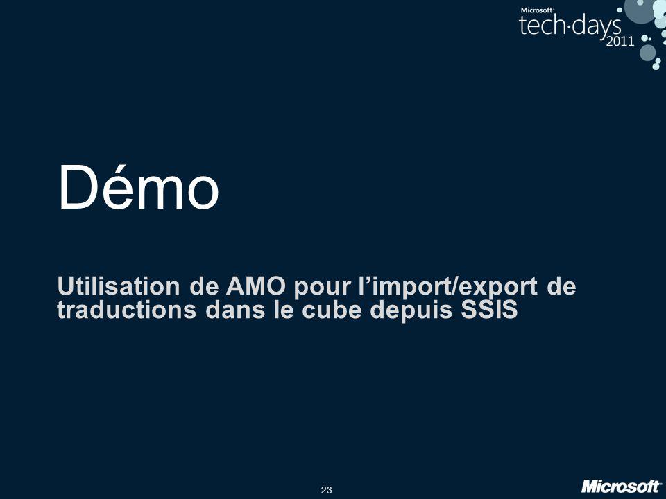 Démo Utilisation de AMO pour l'import/export de traductions dans le cube depuis SSIS