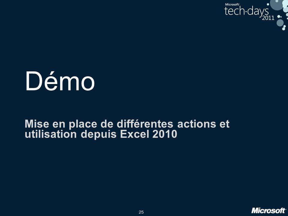 Mise en place de différentes actions et utilisation depuis Excel 2010