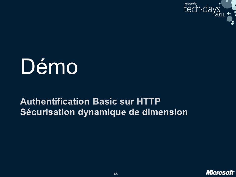 Authentification Basic sur HTTP Sécurisation dynamique de dimension