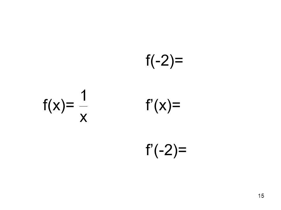 f(x)= f(-2)= f'(x)= f'(-2)=
