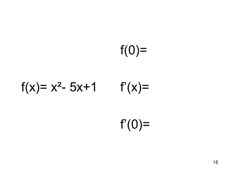 f(x)= x²- 5x+1 f(0)= f'(x)= f'(0)=