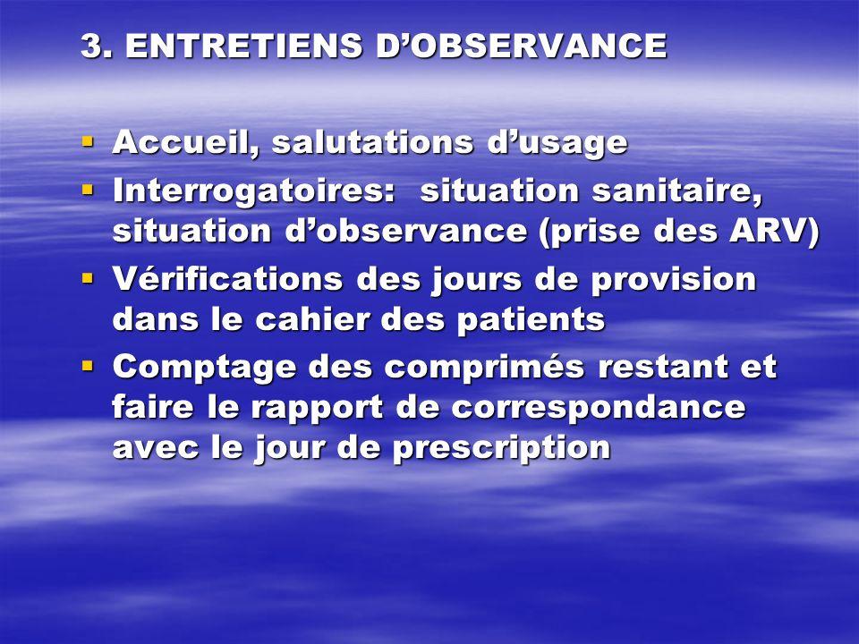 3. ENTRETIENS D'OBSERVANCE