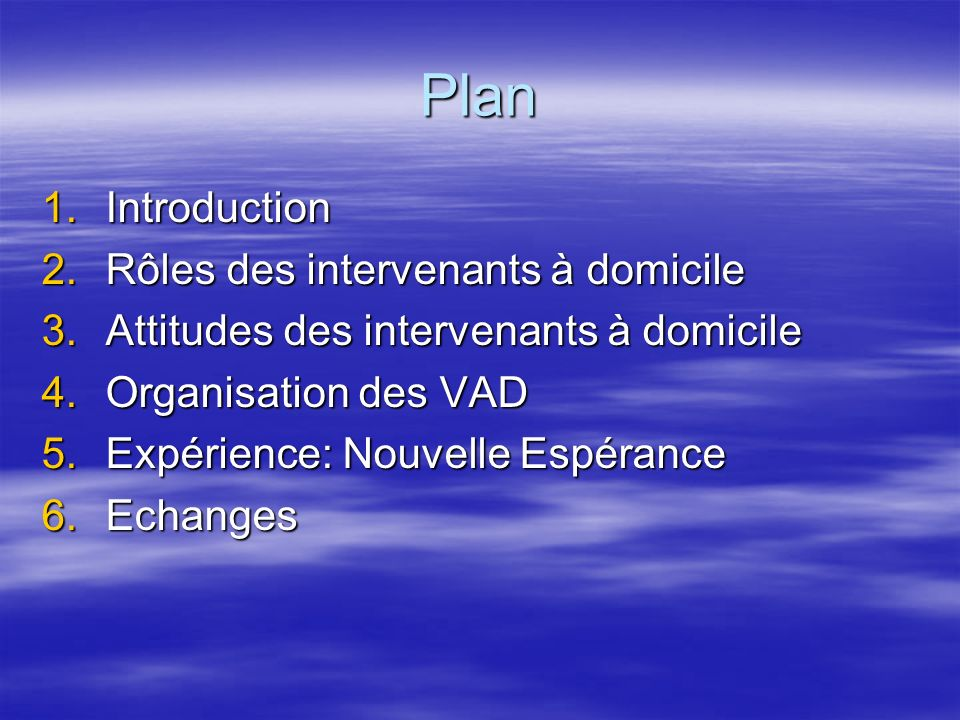 Plan Introduction Rôles des intervenants à domicile