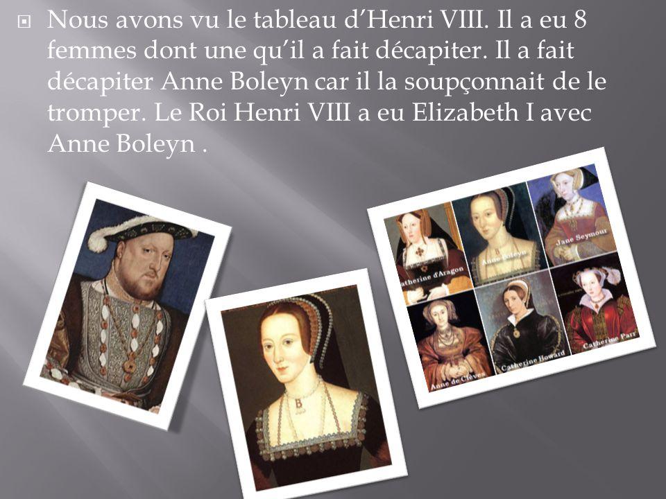 Nous avons vu le tableau d'Henri VIII
