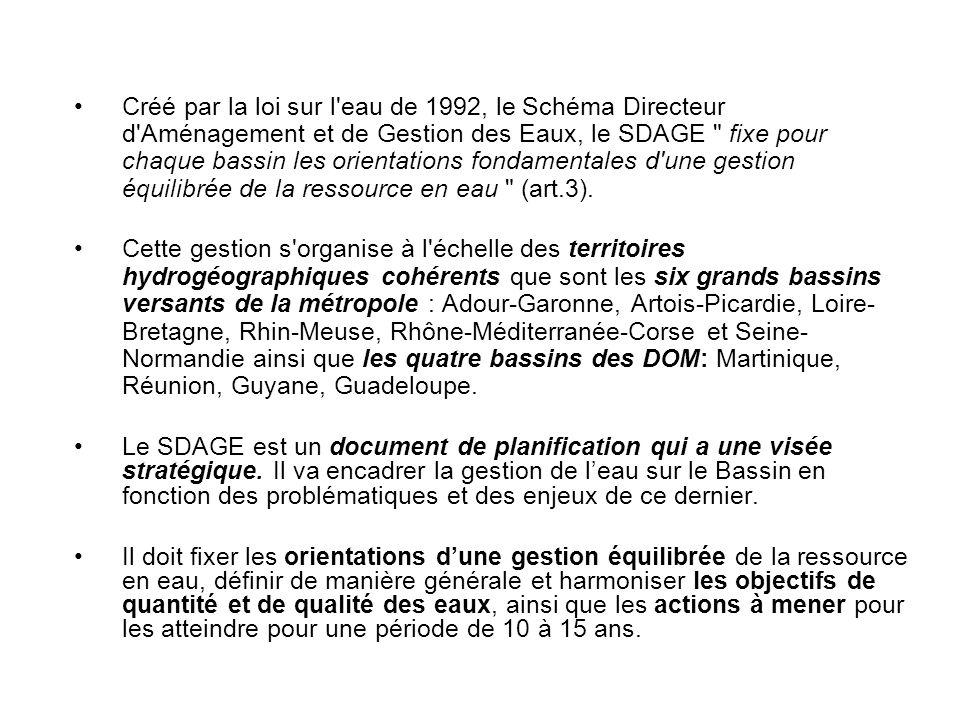 Créé par la loi sur l eau de 1992, le Schéma Directeur d Aménagement et de Gestion des Eaux, le SDAGE fixe pour chaque bassin les orientations fondamentales d une gestion équilibrée de la ressource en eau (art.3).