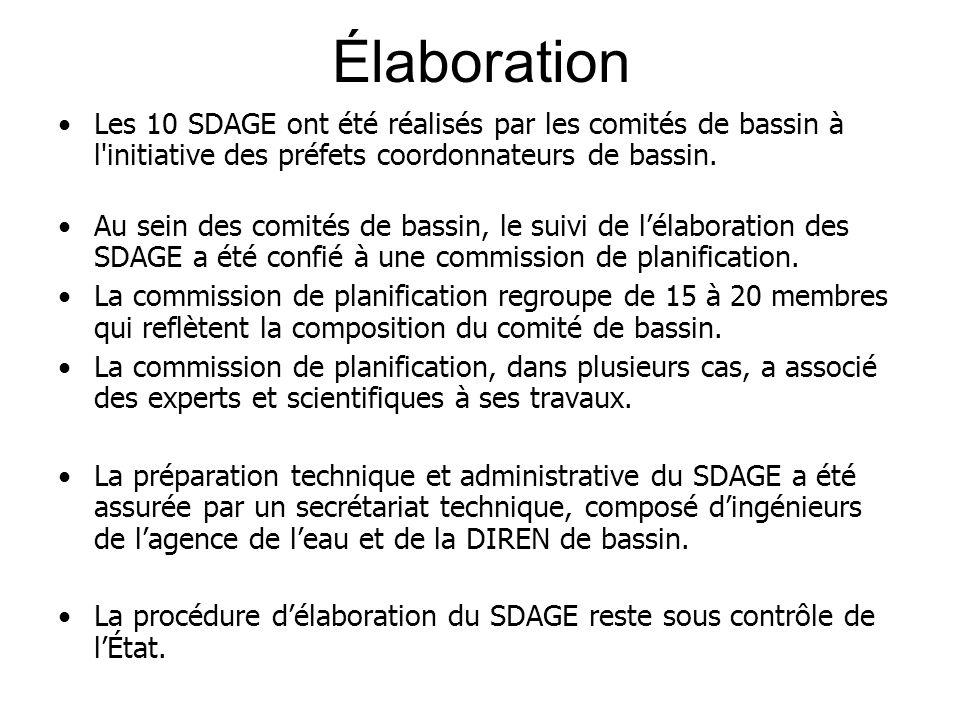 Élaboration Les 10 SDAGE ont été réalisés par les comités de bassin à l initiative des préfets coordonnateurs de bassin.