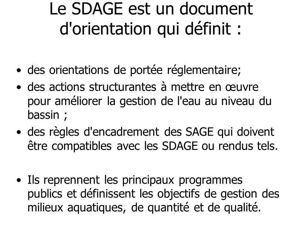 Le SDAGE est un document d orientation qui définit :