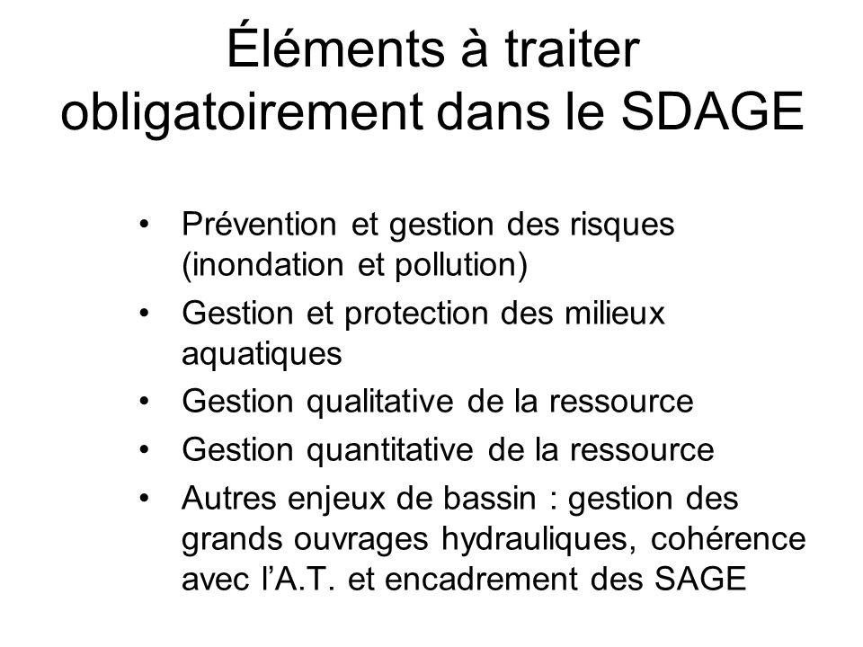 Éléments à traiter obligatoirement dans le SDAGE