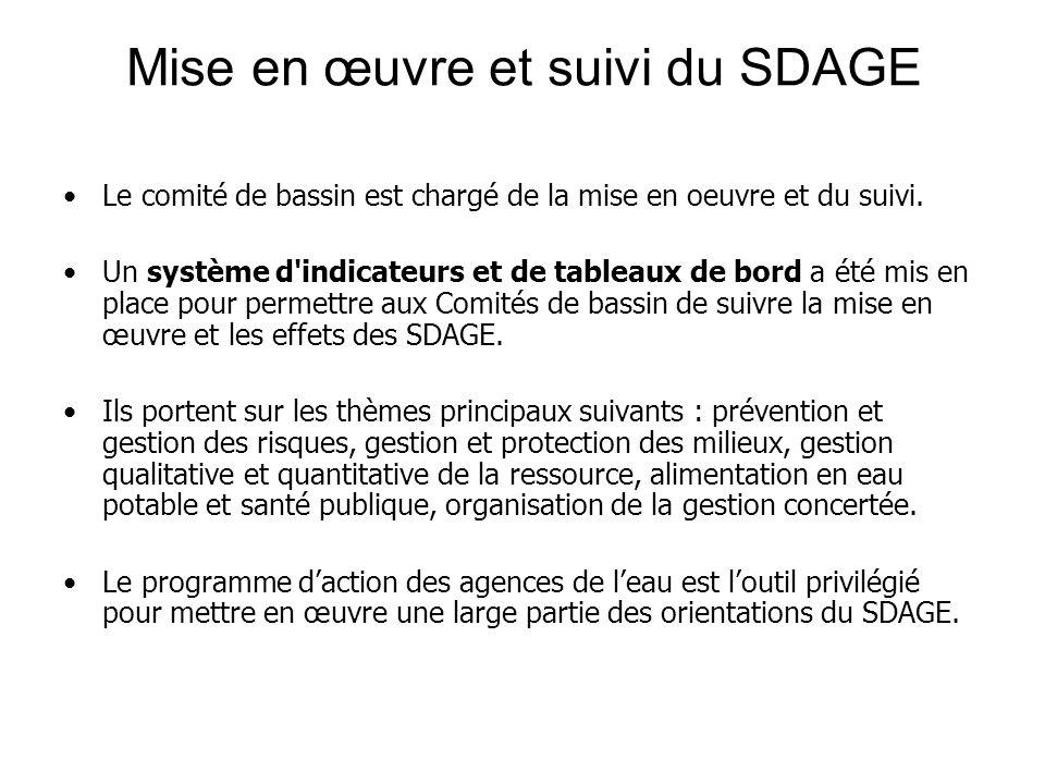 Mise en œuvre et suivi du SDAGE
