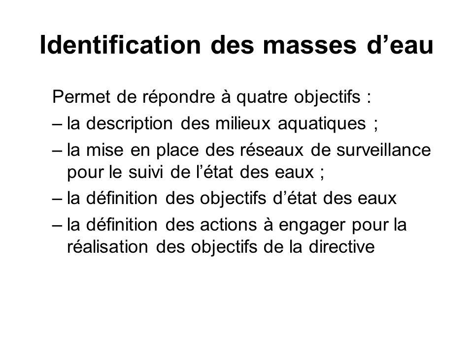 Identification des masses d'eau