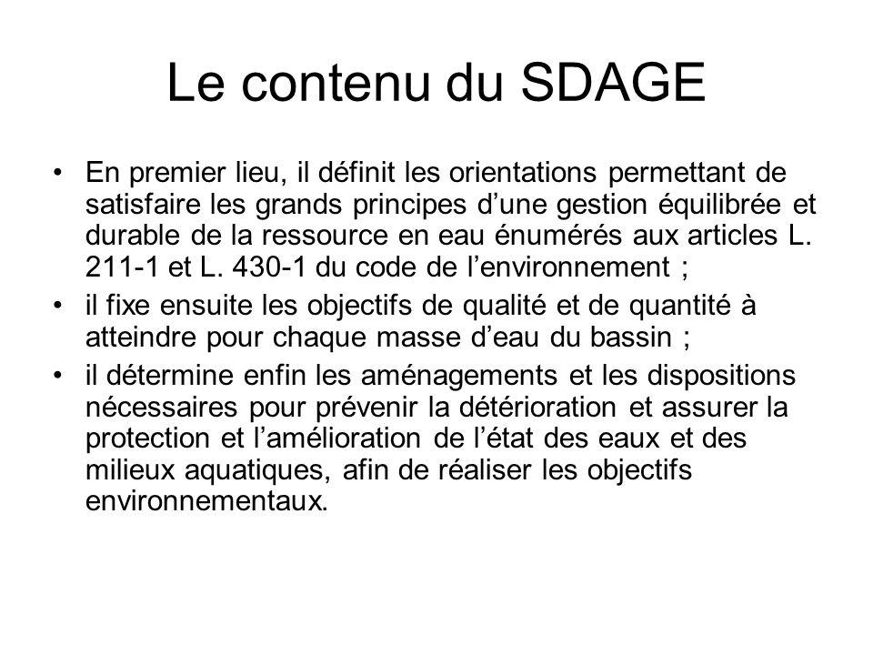 Le contenu du SDAGE