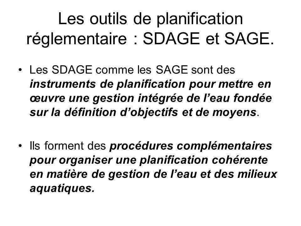 Les outils de planification réglementaire : SDAGE et SAGE.