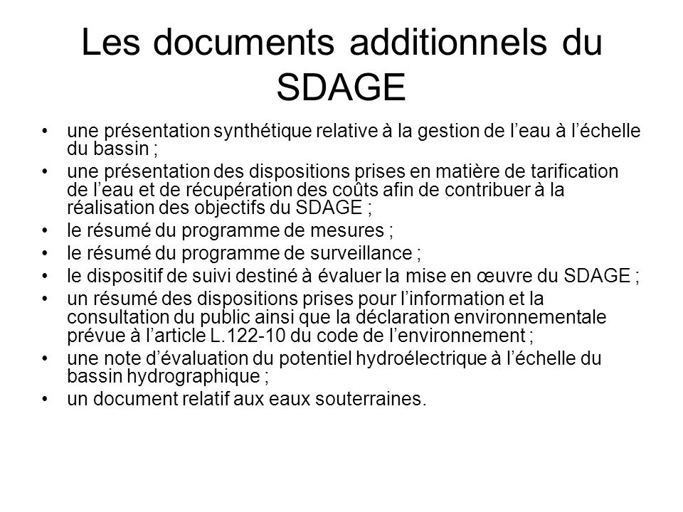 Les documents additionnels du SDAGE