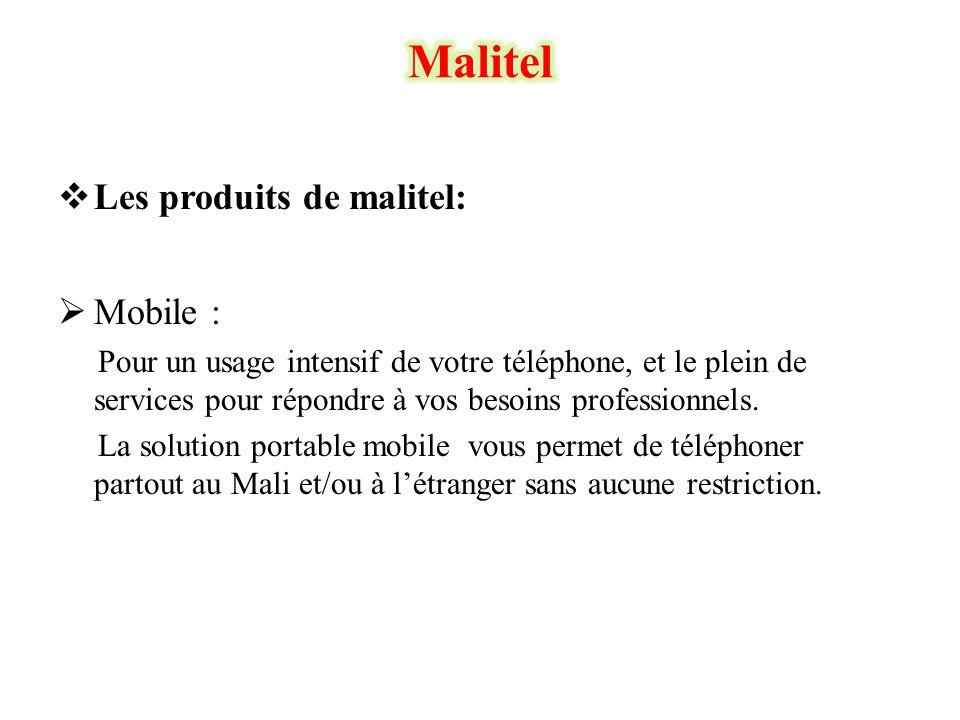 Malitel Les produits de malitel: Mobile :
