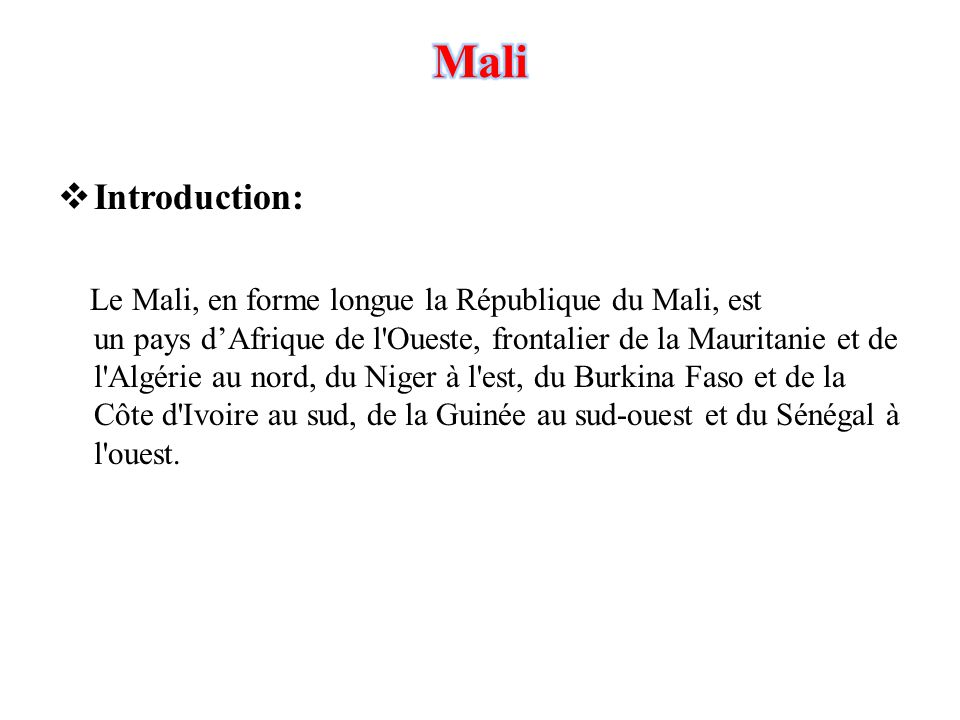 an introduction to the empire of mali A chronology of key events in the history of mali from the 11th century mali profile - timeline 19 11th century - empire of mali becomes dominant force in.