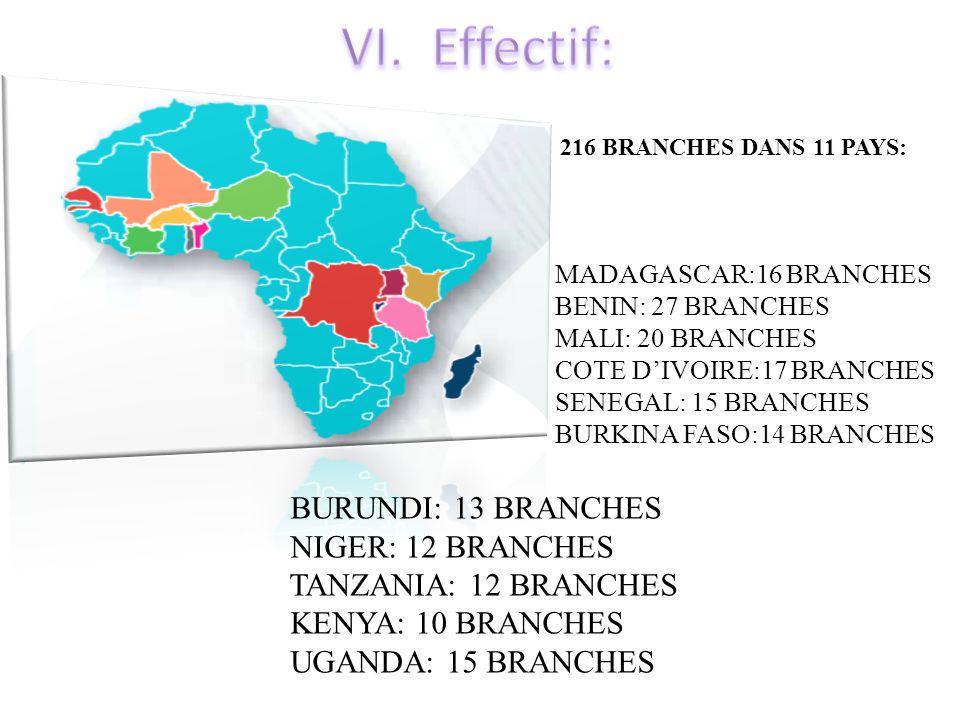 Effectif: BURUNDI: 13 BRANCHES NIGER: 12 BRANCHES