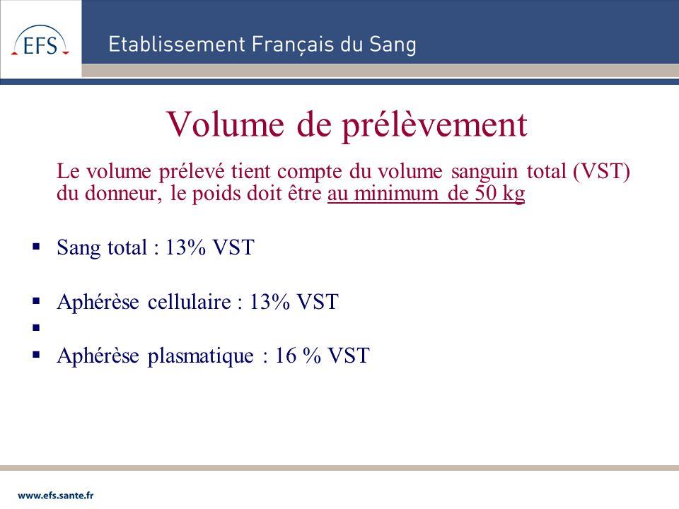 Volume de prélèvement Le volume prélevé tient compte du volume sanguin total (VST) du donneur, le poids doit être au minimum de 50 kg.