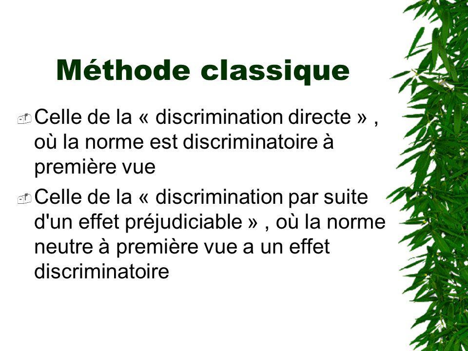Méthode classique Celle de la « discrimination directe » , où la norme est discriminatoire à première vue.