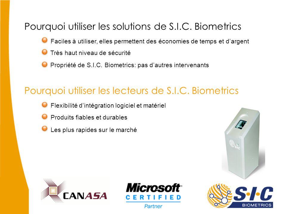 Pourquoi utiliser les solutions de S.I.C. Biometrics