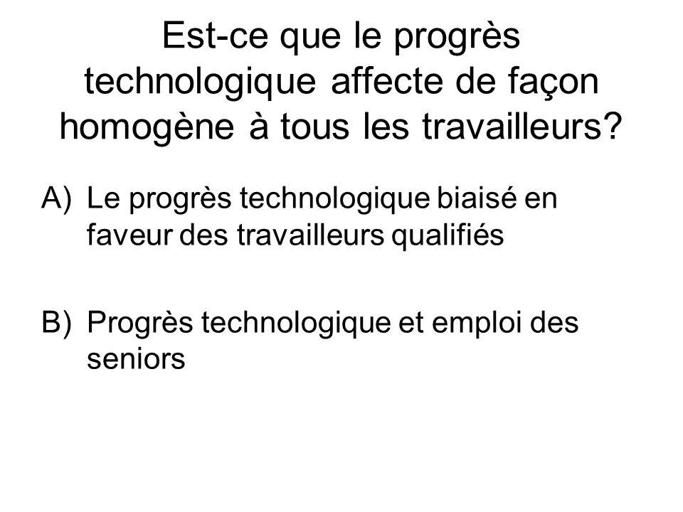 Est-ce que le progrès technologique affecte de façon homogène à tous les travailleurs