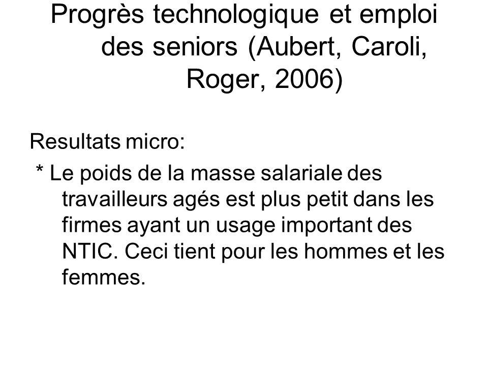 Progrès technologique et emploi des seniors (Aubert, Caroli, Roger, 2006)