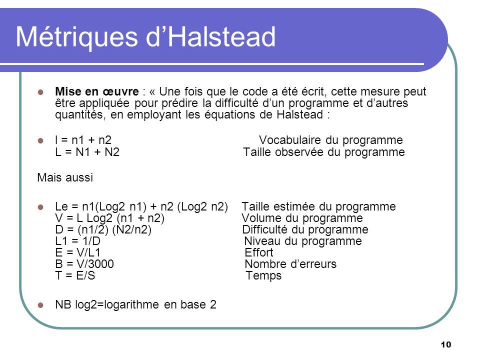Métriques d'Halstead