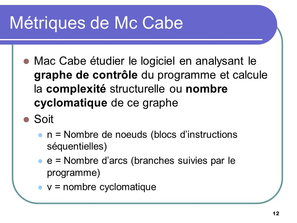 Métriques de Mc Cabe