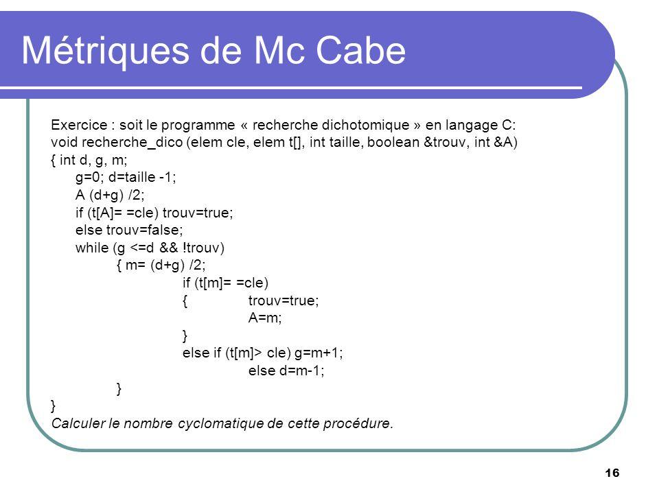 Métriques de Mc CabeExercice : soit le programme « recherche dichotomique » en langage C: