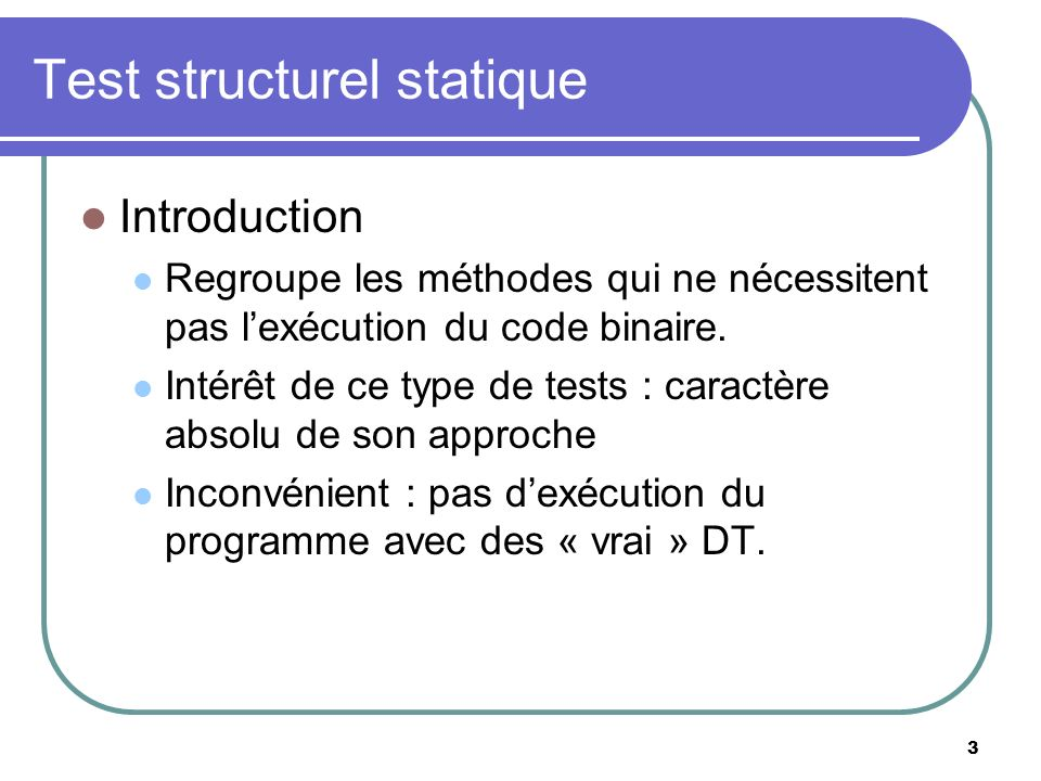 Test structurel statique