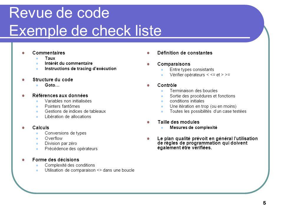Revue de code Exemple de check liste
