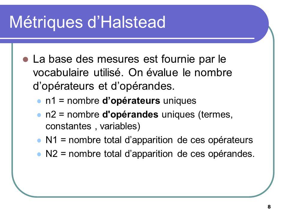 Métriques d'Halstead La base des mesures est fournie par le vocabulaire utilisé. On évalue le nombre d'opérateurs et d'opérandes.