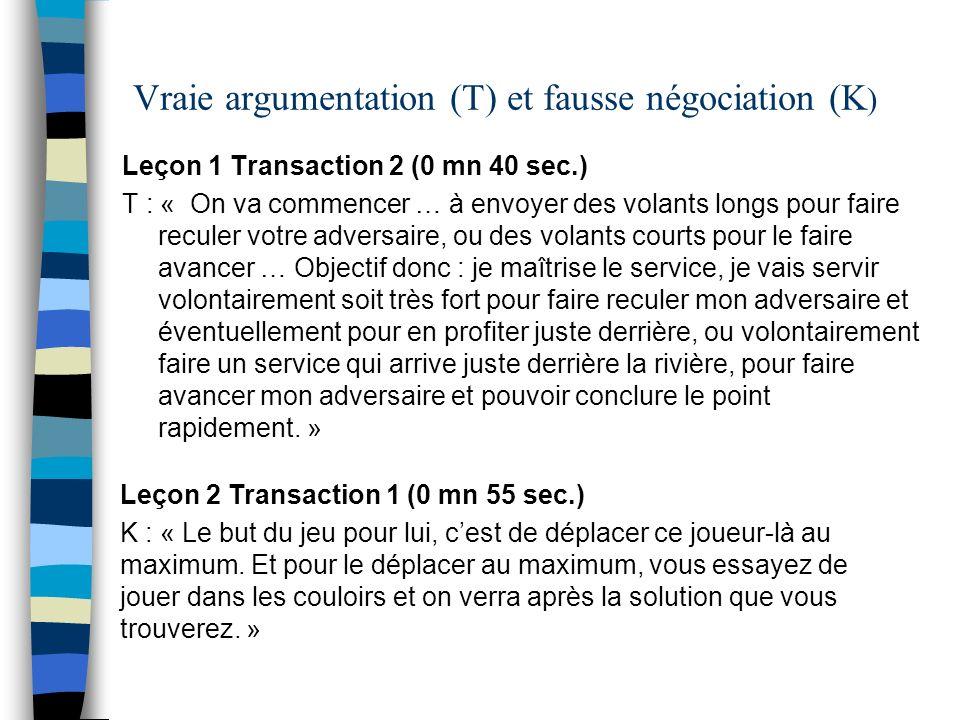 Vraie argumentation (T) et fausse négociation (K)