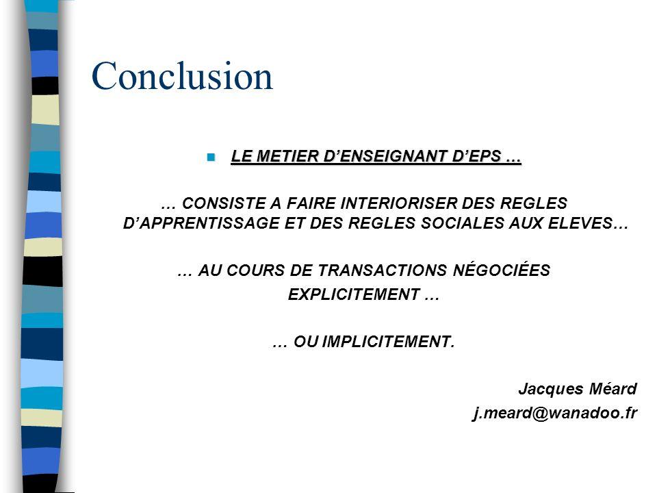 LE METIER D'ENSEIGNANT D'EPS … … AU COURS DE TRANSACTIONS NÉGOCIÉES