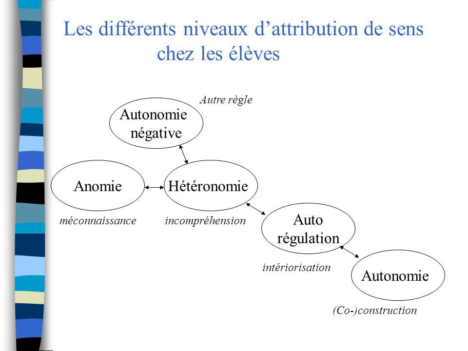 Les différents niveaux d'attribution de sens chez les élèves