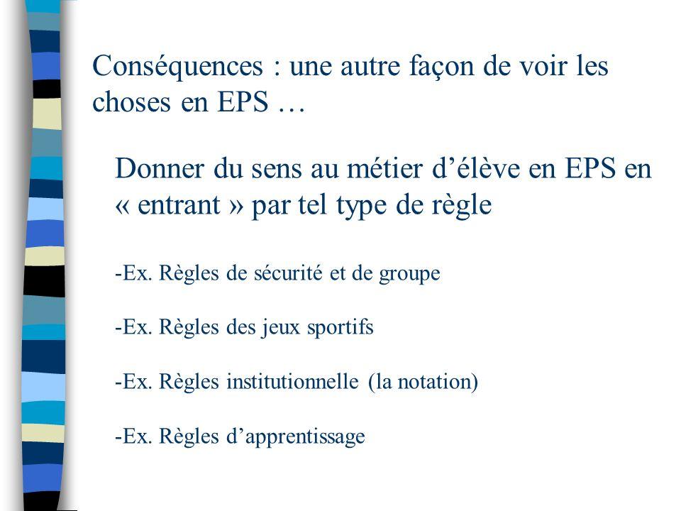 Conséquences : une autre façon de voir les choses en EPS …