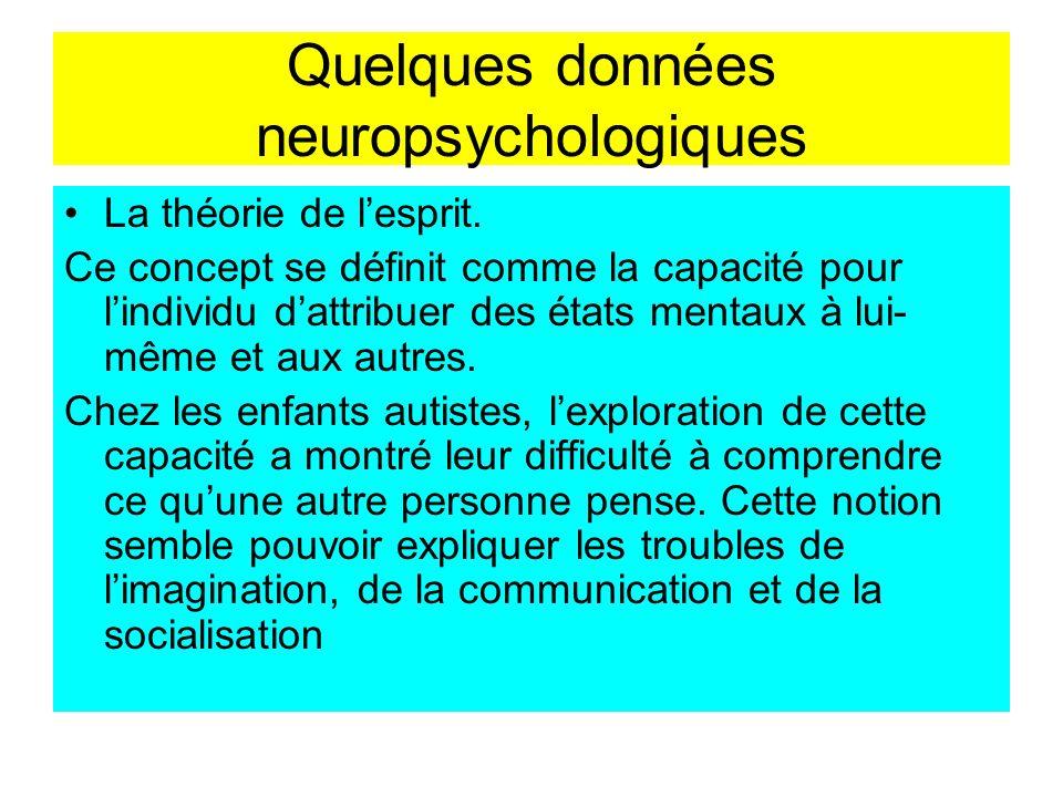 Quelques données neuropsychologiques