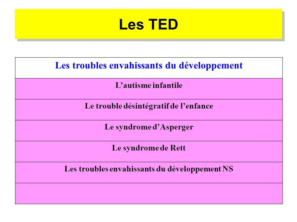 Les TED Les troubles envahissants du développement L'autisme infantile