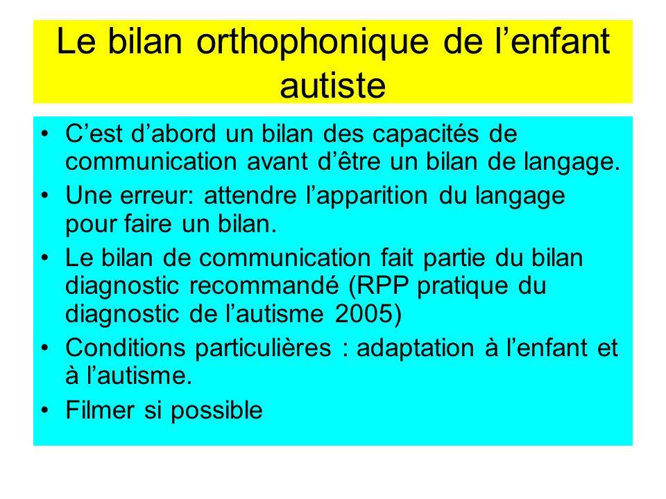 Le bilan orthophonique de l'enfant autiste