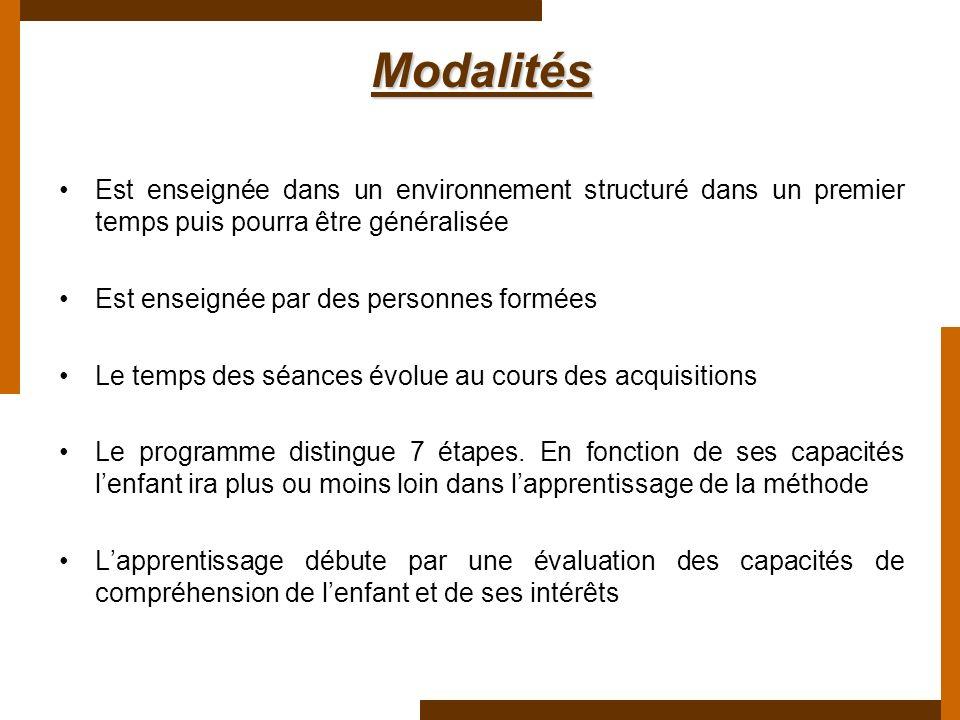 Modalités Est enseignée dans un environnement structuré dans un premier temps puis pourra être généralisée.