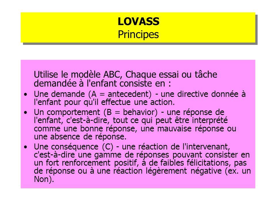 LOVASS PrincipesUtilise le modèle ABC, Chaque essai ou tâche demandée à l enfant consiste en :