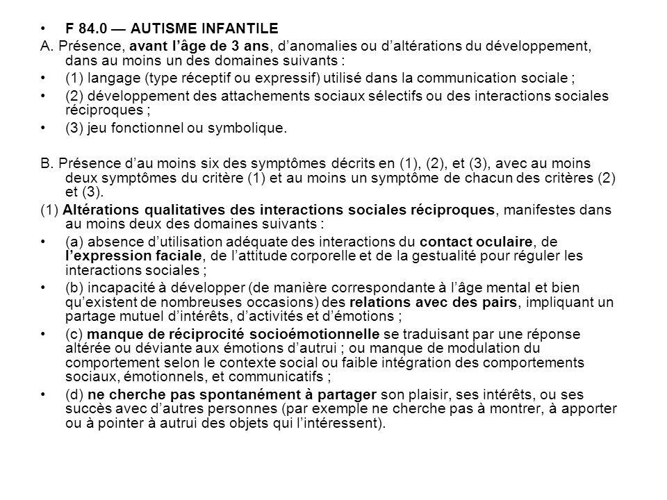 F 84.0 — AUTISME INFANTILEA. Présence, avant l'âge de 3 ans, d'anomalies ou d'altérations du développement, dans au moins un des domaines suivants :