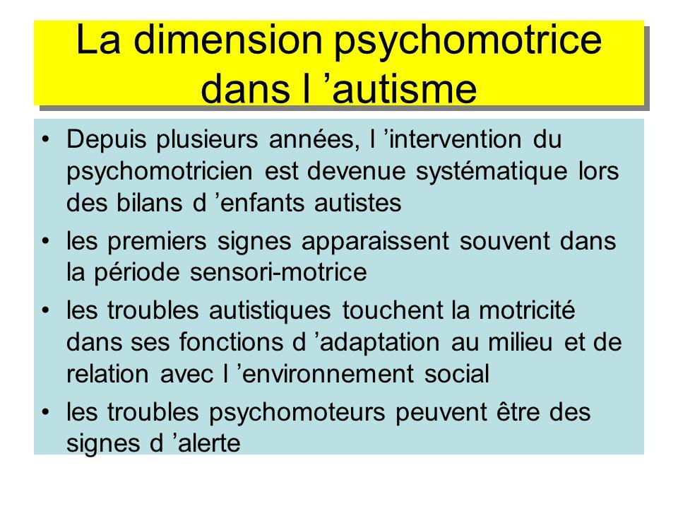 La dimension psychomotrice dans l 'autisme