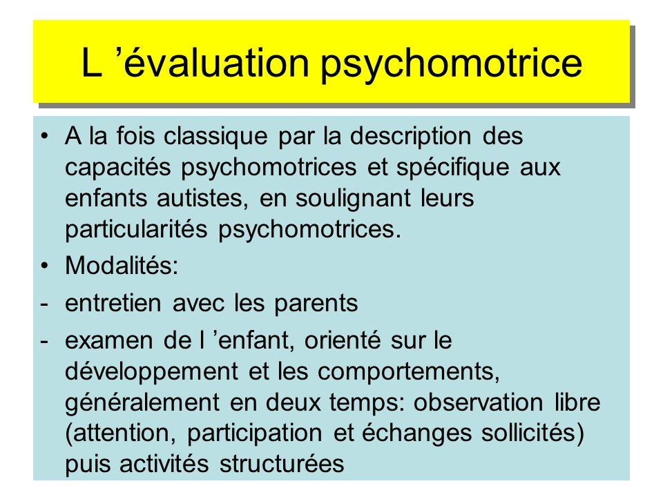 L 'évaluation psychomotrice