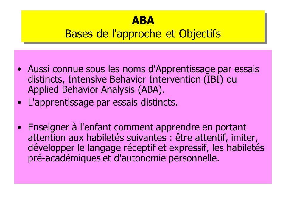 ABA Bases de l approche et Objectifs