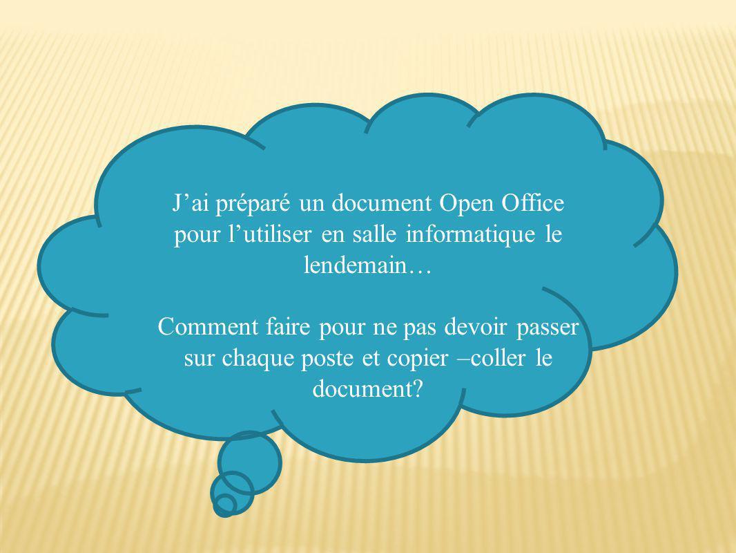 J'ai préparé un document Open Office pour l'utiliser en salle informatique le lendemain…