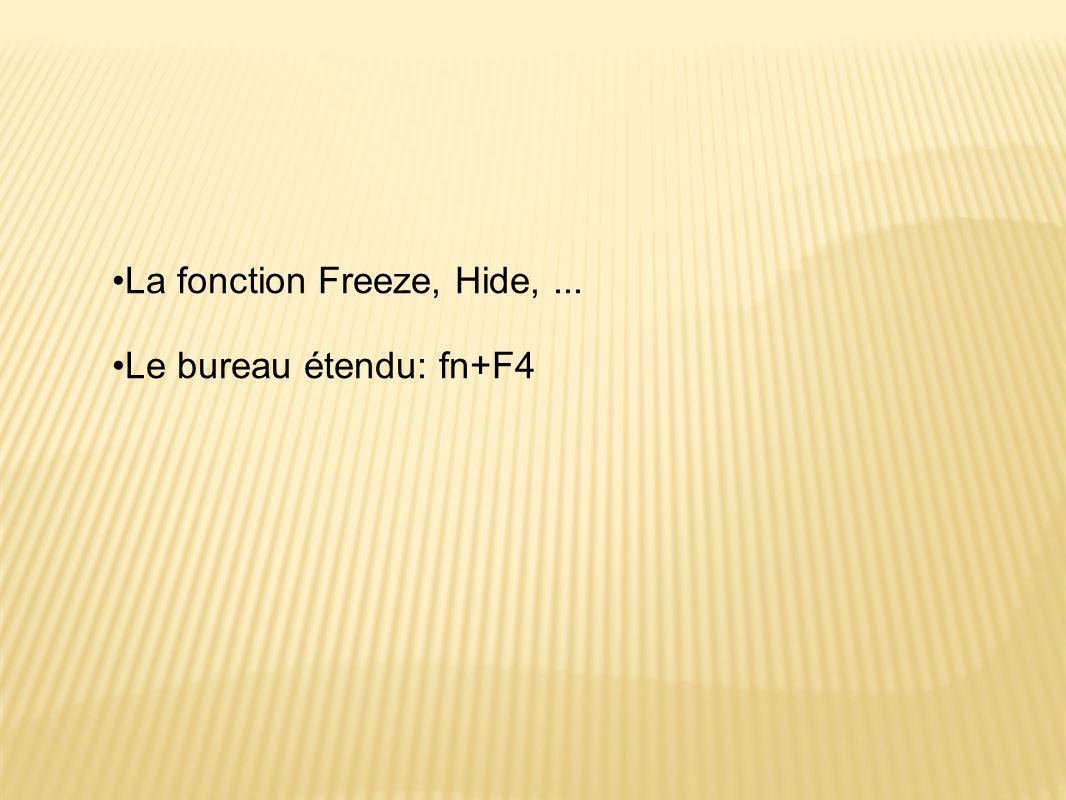 La fonction Freeze, Hide, ... Le bureau étendu: fn+F4