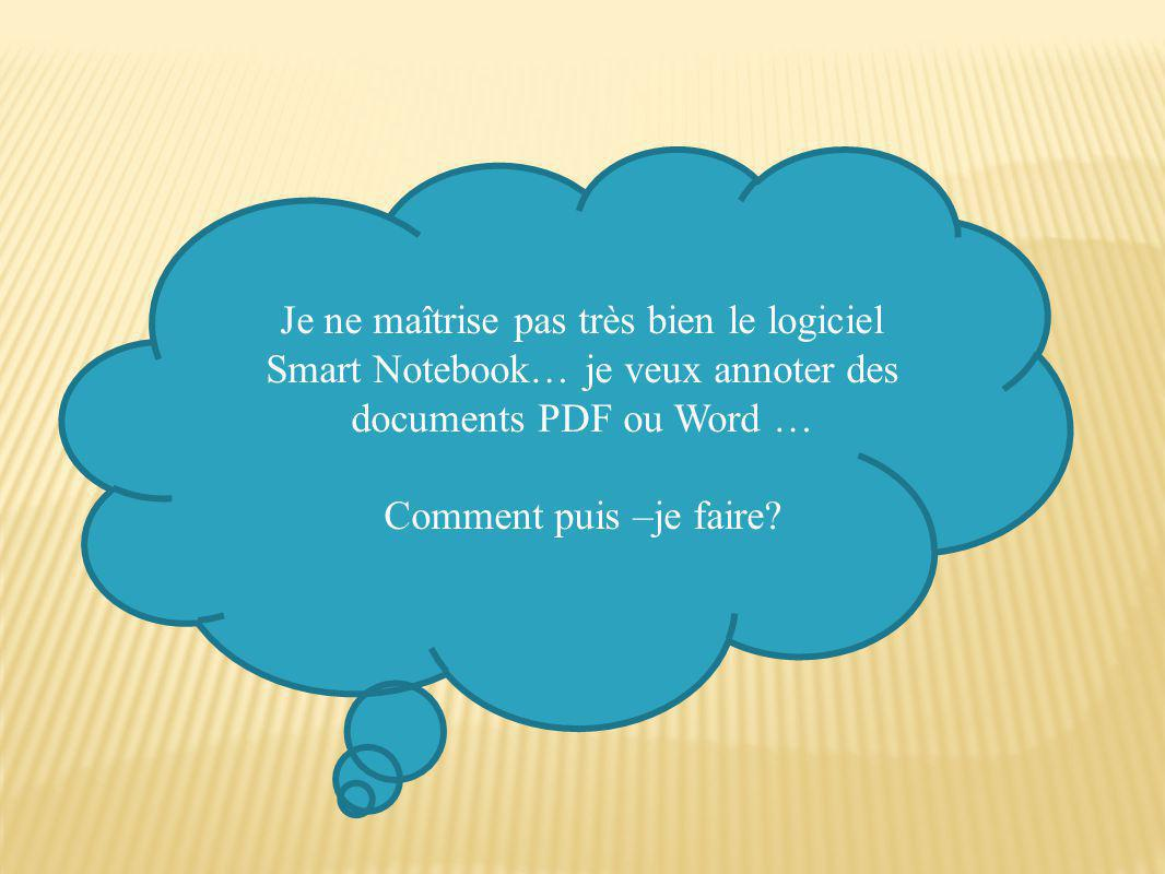 Je ne maîtrise pas très bien le logiciel Smart Notebook… je veux annoter des documents PDF ou Word …